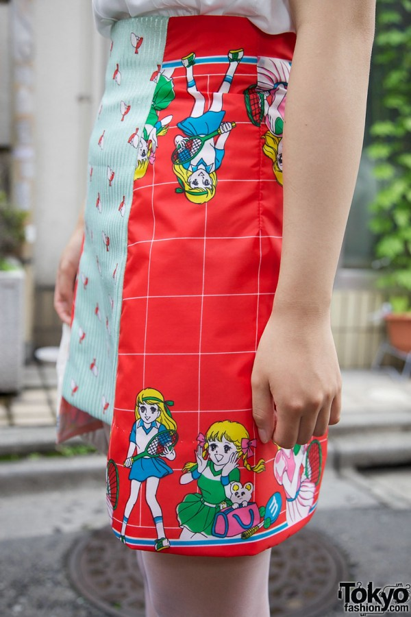 Cartoon-print skirt