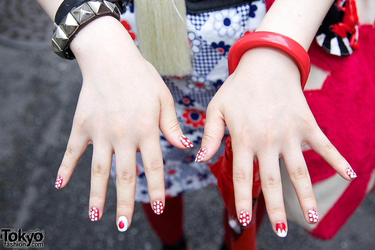 Handmade Plush Rising Sun Purse Decorated Nails Red Bangle Metal Stud Bracelet