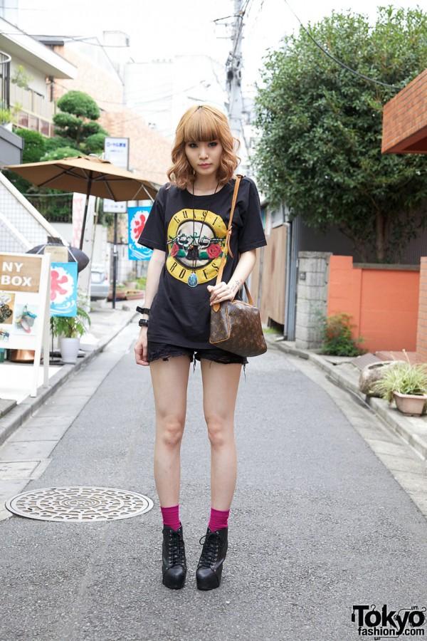 Japanese Girl in Rocker Fashion in Harajuku