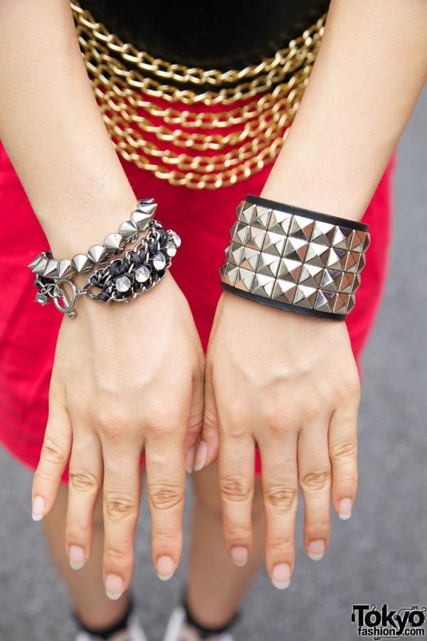 Chunky metal bracelets