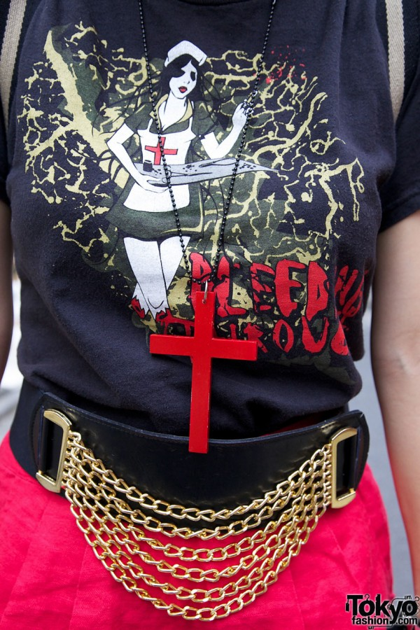 Large red cross on chain