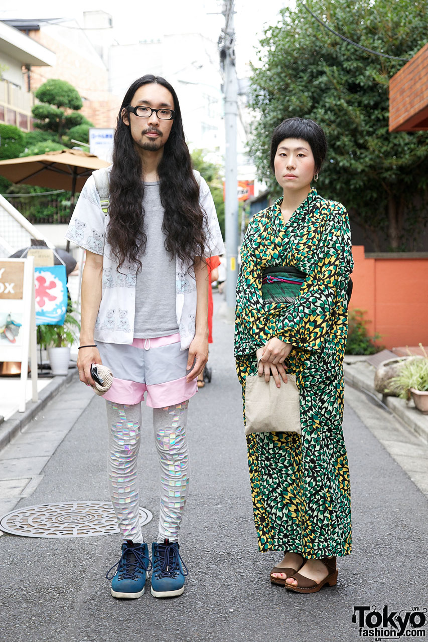 Guy in American Apparel shorts & Girl in Kimono