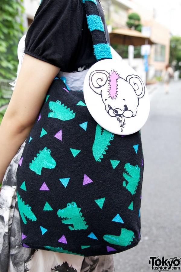 Candy Stripper purse & Monomania button