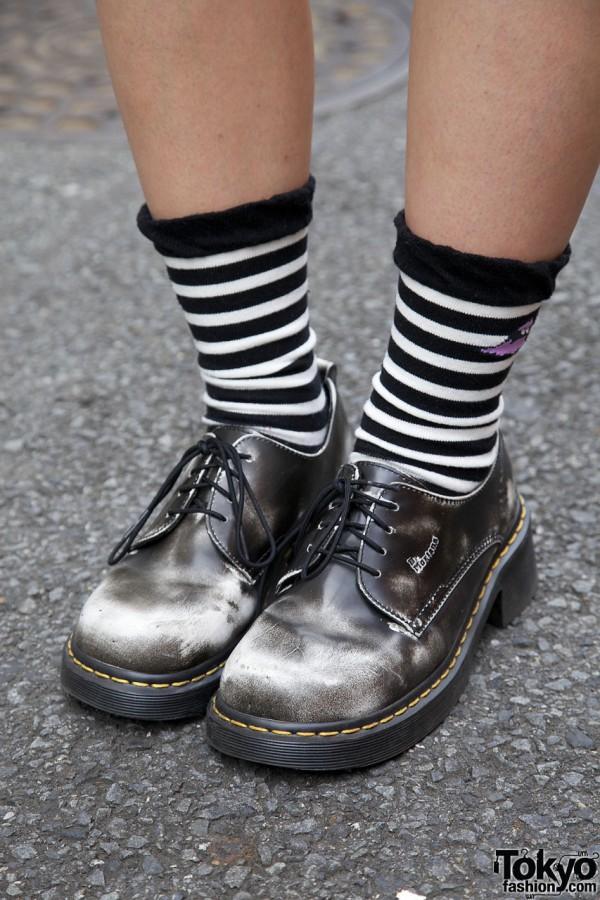 Dr. Martens shoes & striped socks