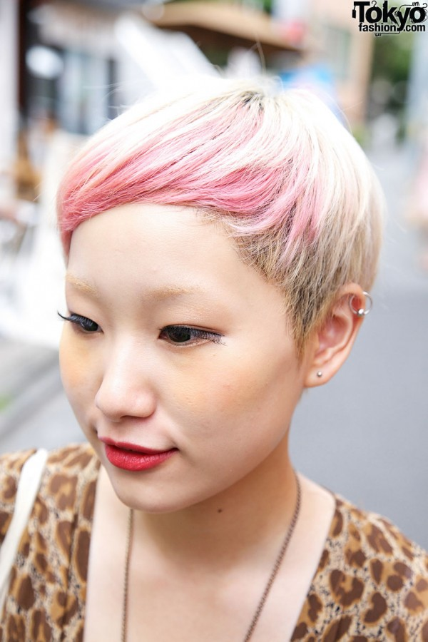 Japanese Girl's Short Pink Hairstyle