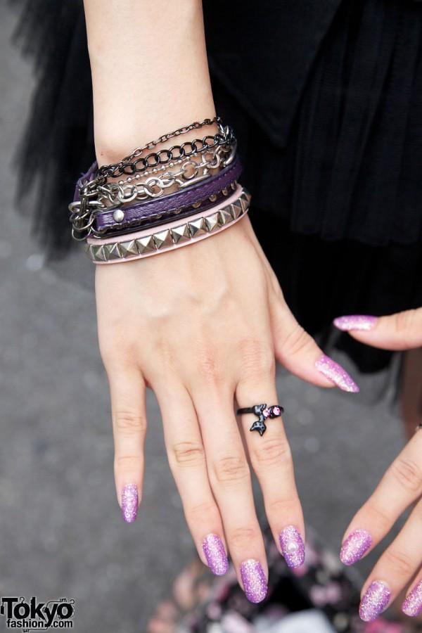 Lavender glitter nails & silver bracelets