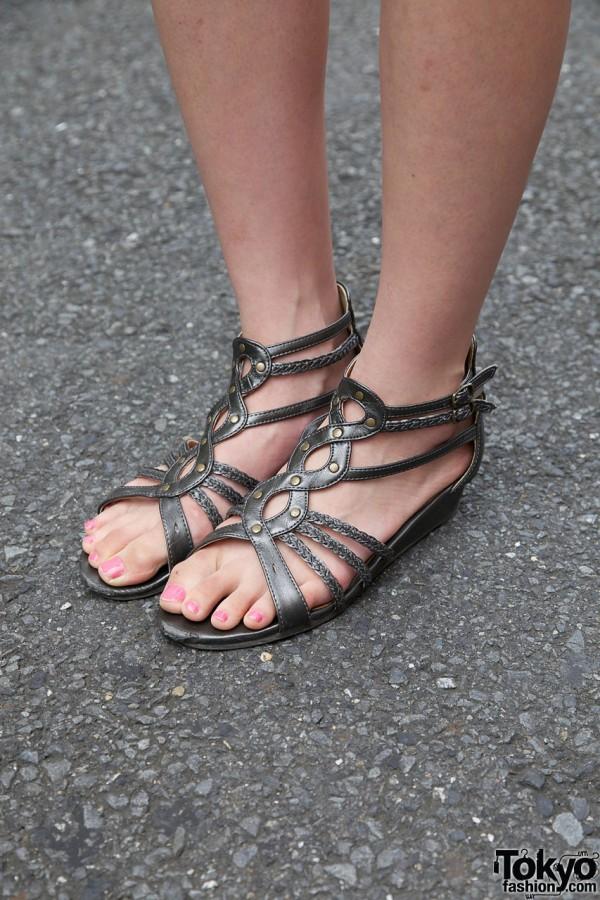 Strappy metallic sandals