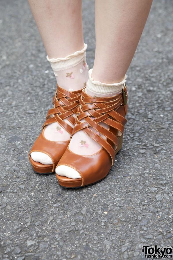 Floral socks & woven platform sandals