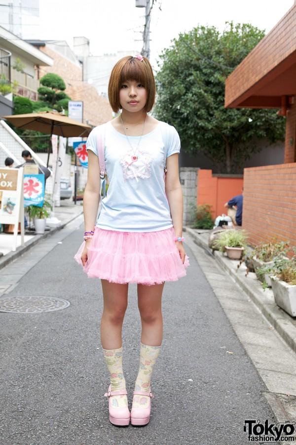Harajuku Fairy Kei Girl w/ ManiaQ Tulle Skirt, Nile Perch & 6%DOKIDOKI