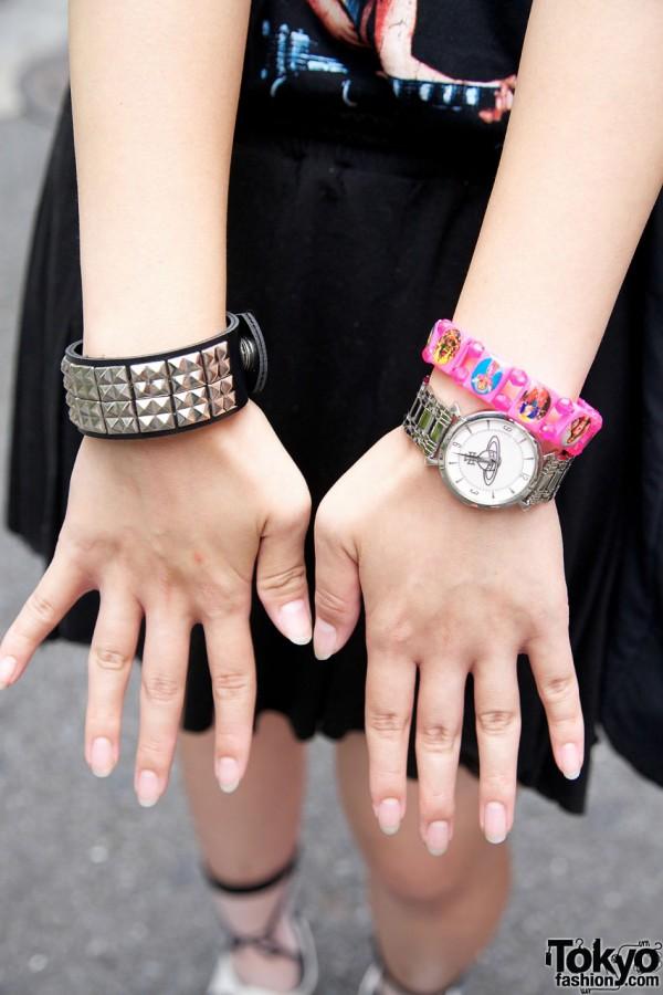 Studded wristband, Westwood wach & plastic bracelet