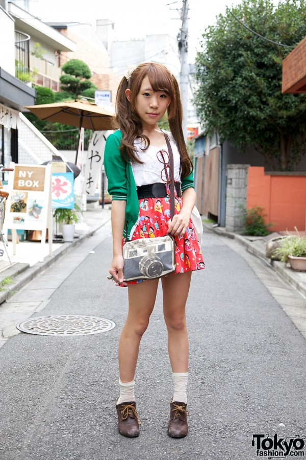Harajuku Girl's Twin Tails Hairstyle, Betty Boop Skirt & Camera Purse