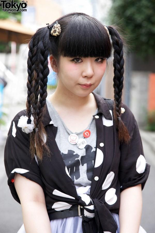 Triple Braids & Bangs Hairstyle in Harajuku
