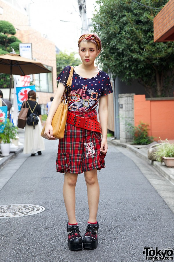 Embellished UTA Top & Plaid Dog Shorts