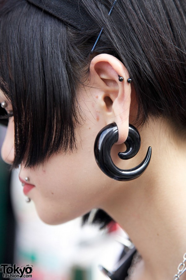 Large Spiral Gauged Earring