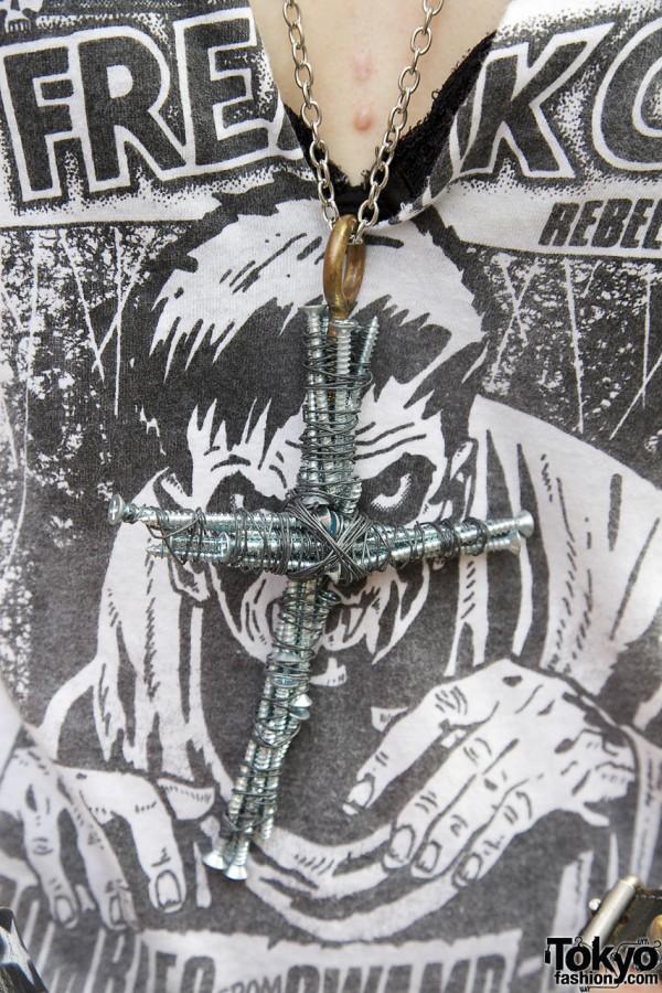 Cross Necklace Made of Screws