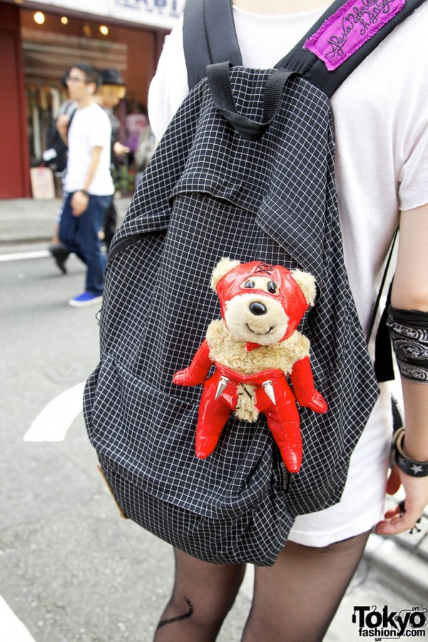 Customized Backpack With Punk Teddy Bear