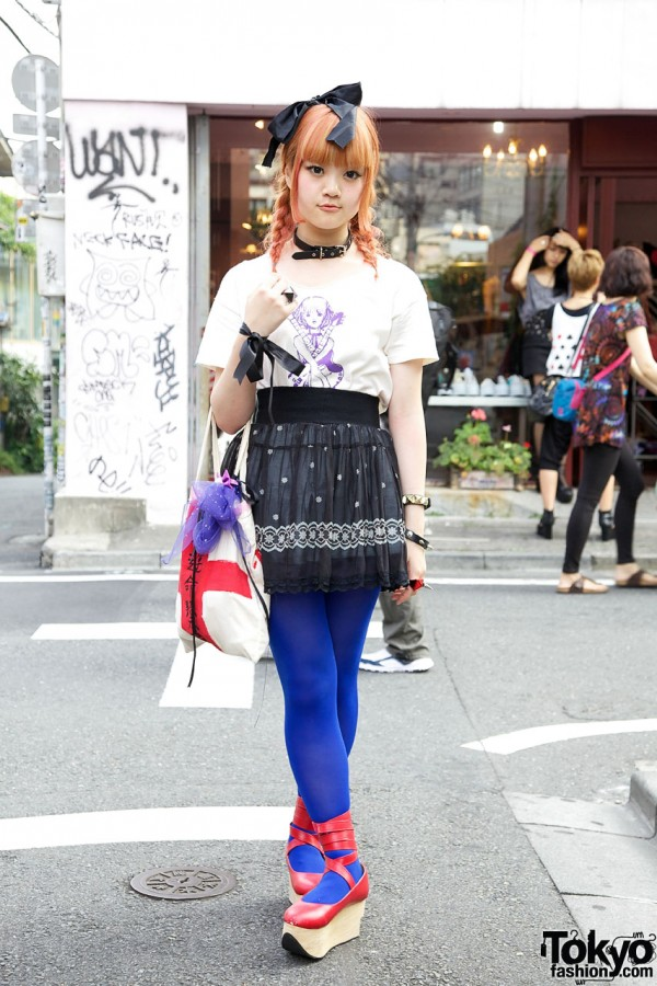 Harajuku Girl's Pretty Red Hair Color, Anna Sui Top & Rocking Horse Shoes