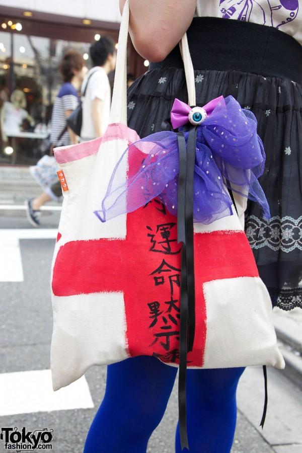 Handmade Red Cross Bag in Harajuku