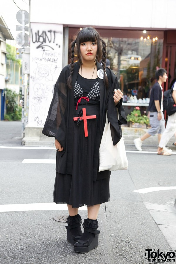 Goth Girl's Bikini Top, Wedge Sandals & Handmade Cross