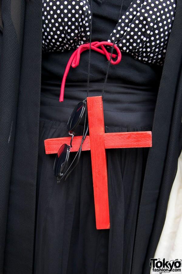 Handmade red cross w/ sunglasses on string