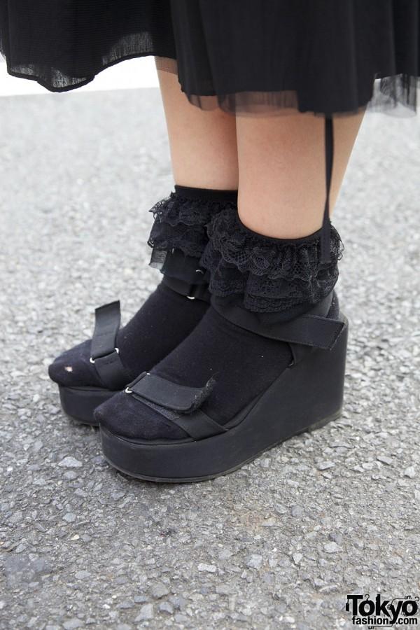 Black wedge sandals & ruffled socks