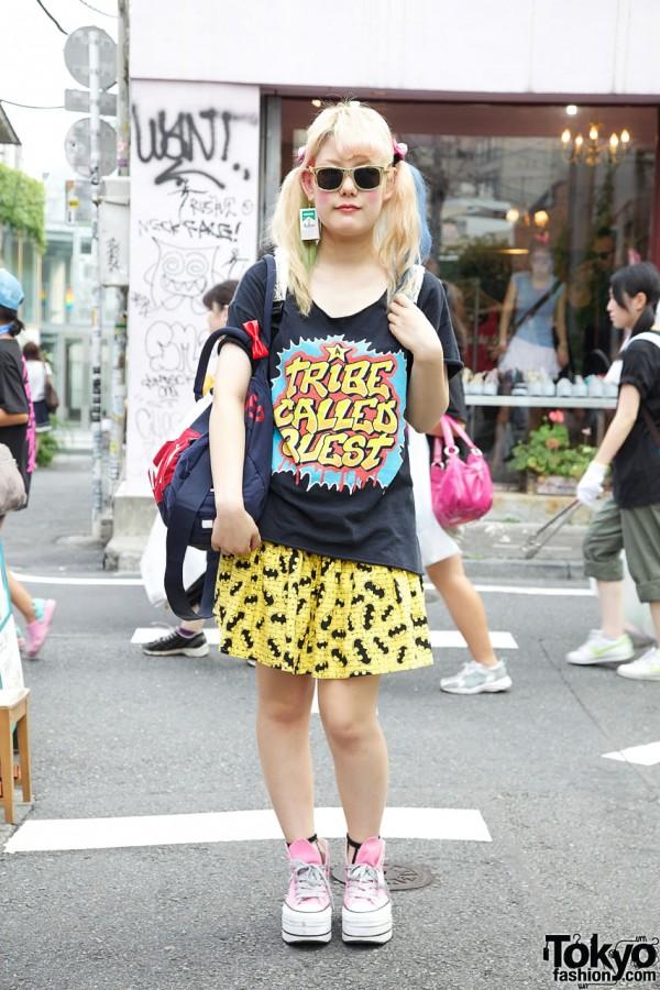 Tribe Called Quest Top, Batman Skirt & Nadia Platform Converse in Harajuku