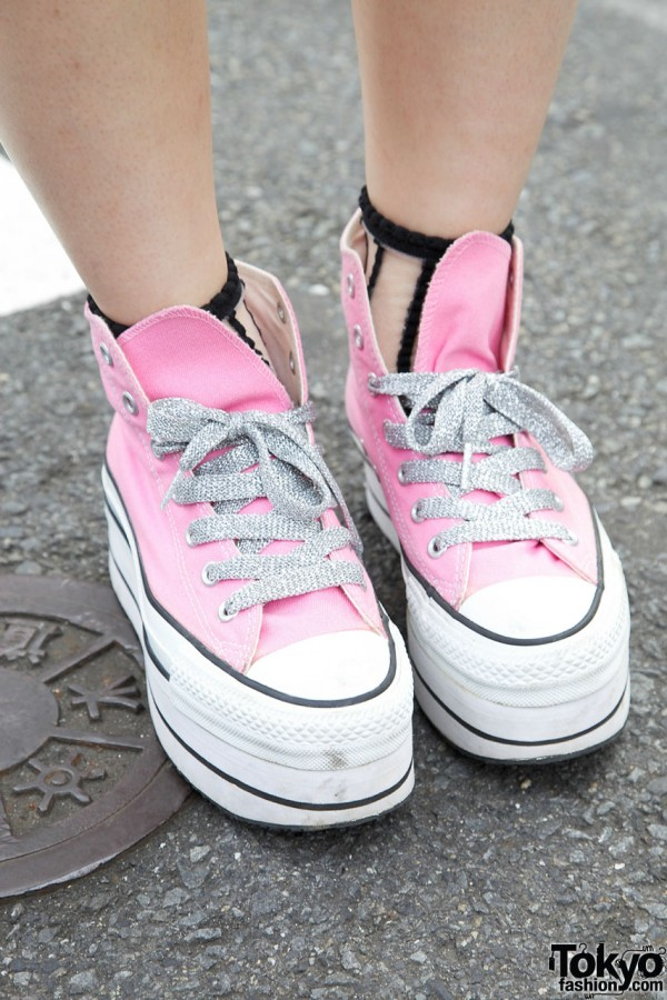 Pink Platform Converse from Nadia Harajuku