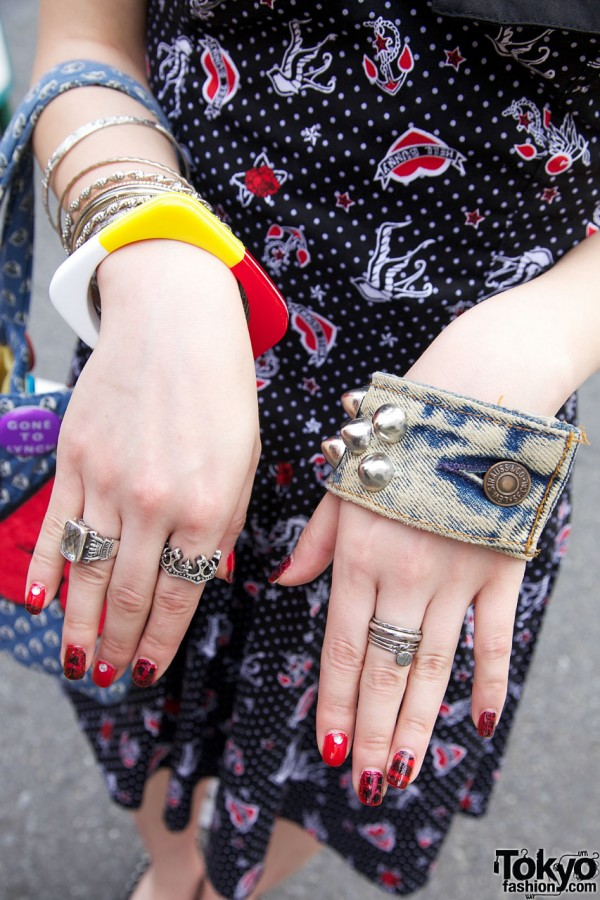 Studded denim cuff & silver jewelry