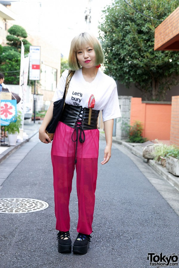 Novelty T-Shirt, Chiffon Pants & Corset