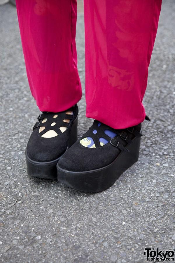 Tokyo Bopper platform shoes w/ chiffon pants