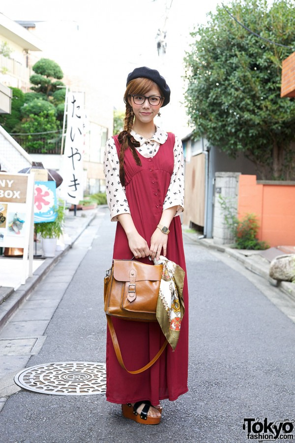 Stylish Yurika's Glasses, Beret & Long Chelsea Romper