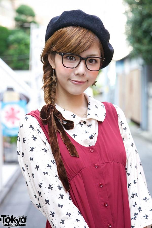 Braid w/ velvet ribbon, glasses & print blouse