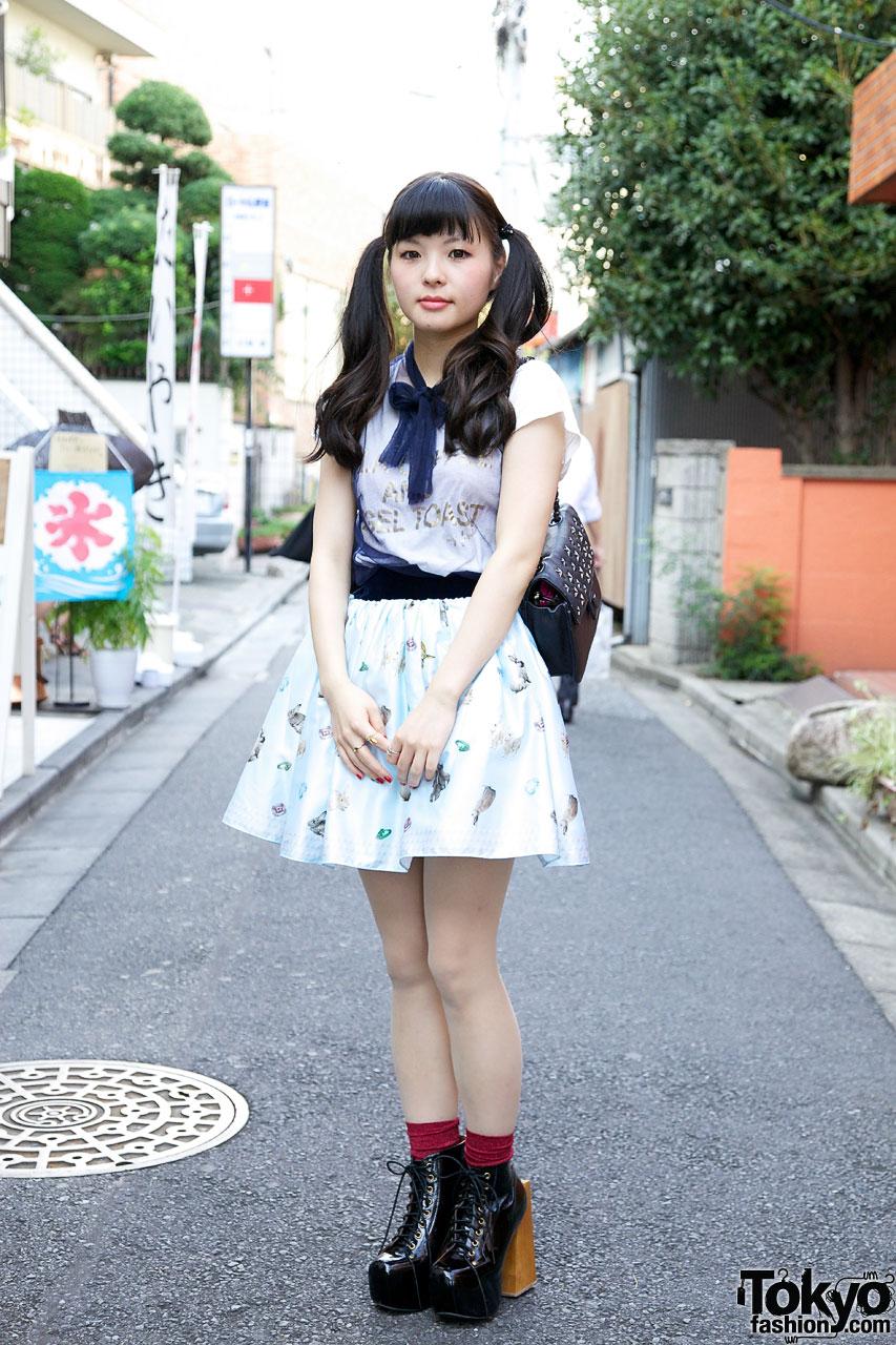 Asian girls in skirt