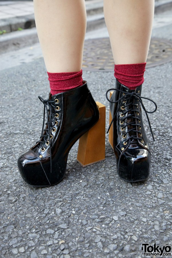 Jeffrey Campbell patent leather wooden heel shoes
