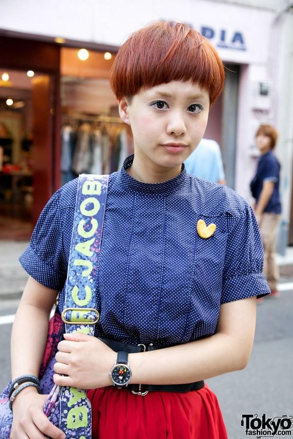 Blue Beam Boy blouse w/ heart pin