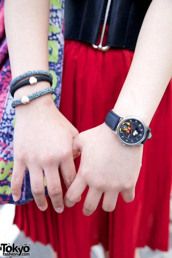 Timex Snow White watch & heart bracelets