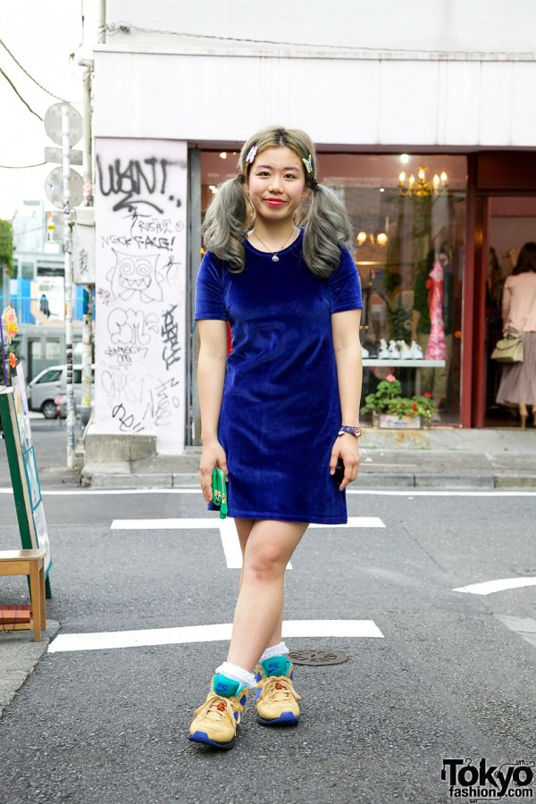 Blue Velvet Dress & Nike Air Escape Sneakers