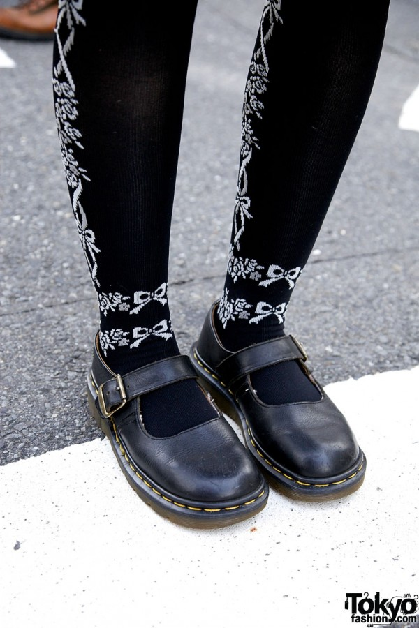 Decorated tights & Dr. Martens Mary Jane shoes
