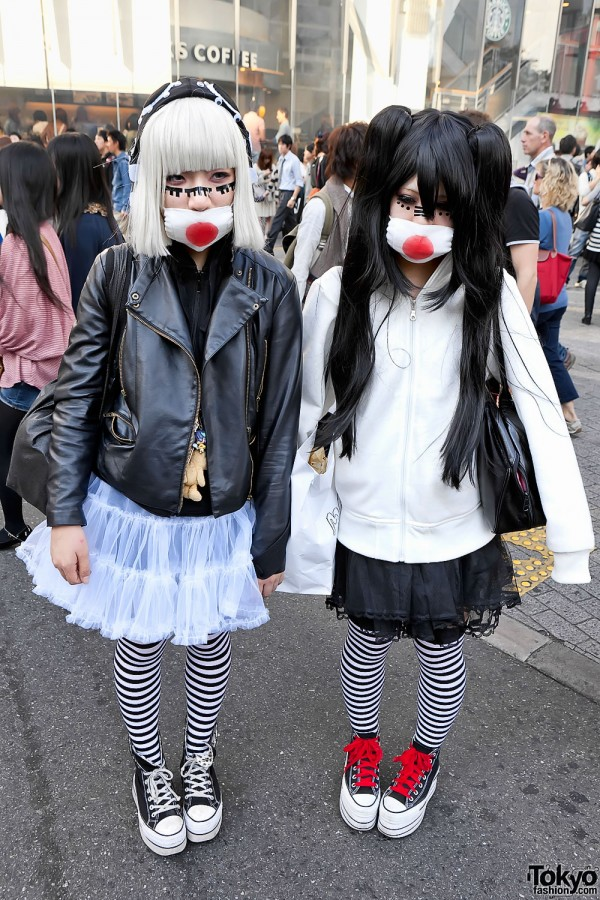 Stylish Masked Japanese Girls in Shibuya