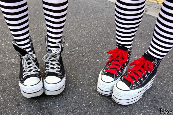 Platform Converse & Striped Tights