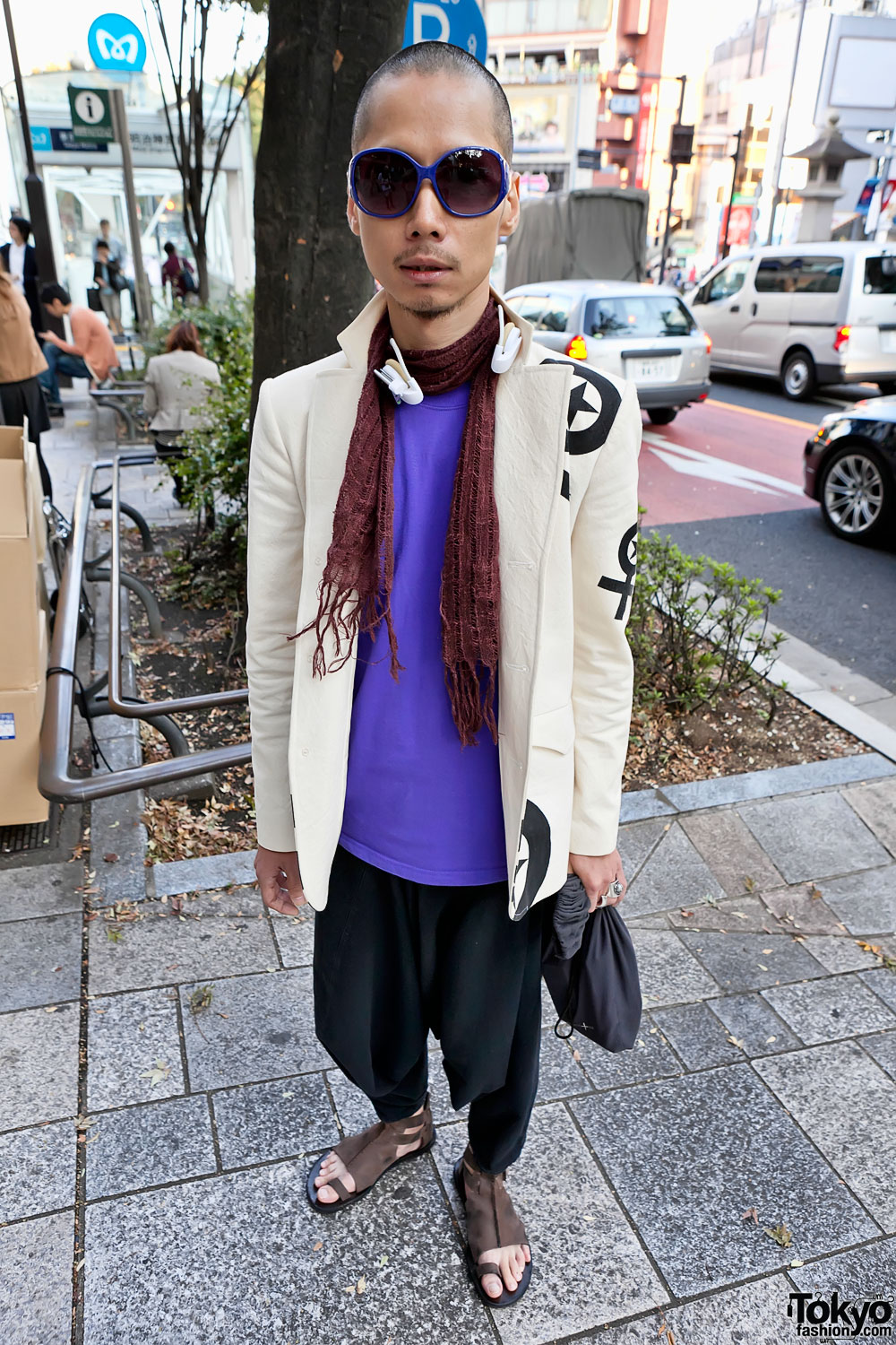 Japanese fashion designer 39 s graphic blazer in harajuku Japanese clothing designers