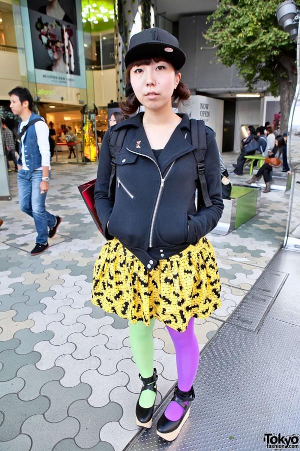 Harajuku Girl in Jacket, Cap & Batman Skirt