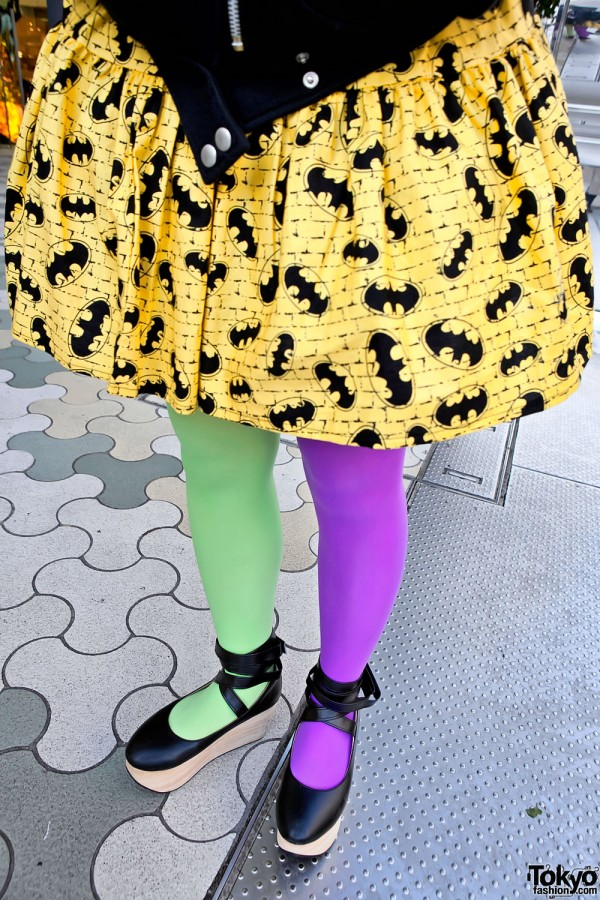 Batman Skirt & Purple-Green Tights in Harajuku