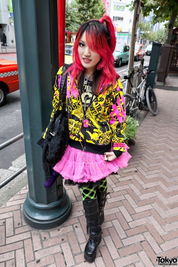 Colorful in Shibuya w/ Red Hair, Super Lovers, Tulle Skirt & Buckle Boots