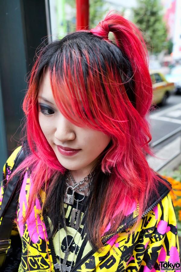 Red Hair, Lock & Razor Blade Necklaces