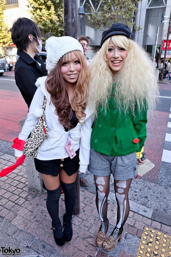 Shibuya Girls w/ Two-Tone & Blonde Hairstyles, Hats & Skeleton Tights