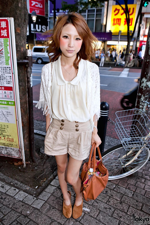Shibuya Girl in High Waist Shorts