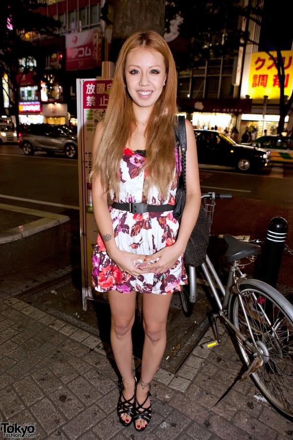 Shibuya Girl in Belted Floral Dress