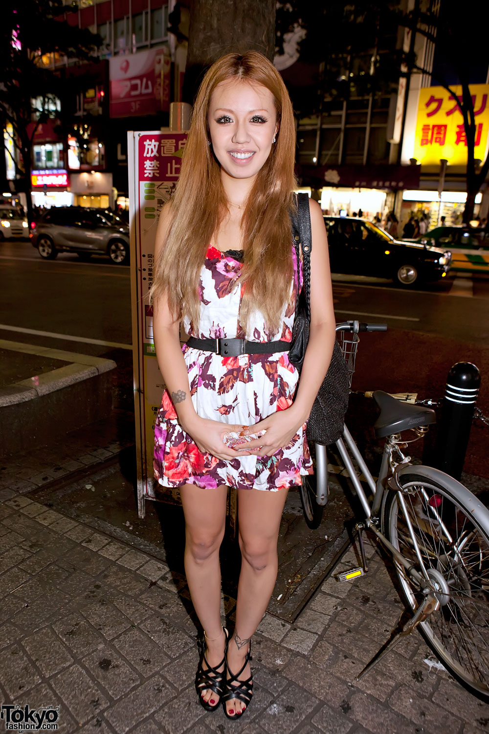 Shibuya Girl in Belted Floral Dress
