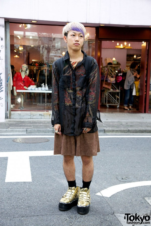 Sheer shirt from Boy & gold sneakers from Dog